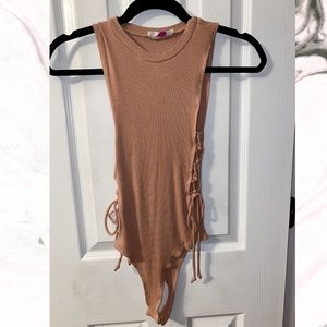 Honey Punch Tops - Blush Lace Up Body Suit
